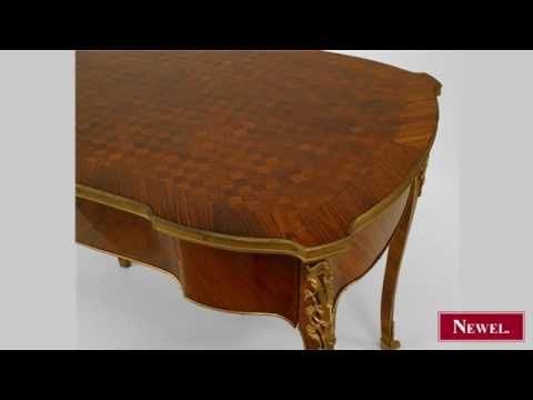 Antique French Louis XV style (19th Cent) desk with a parque
