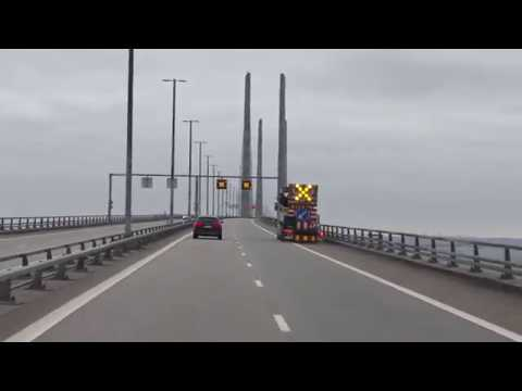 OurTour Drive Their Hymer B544 across the Oresund Bridge From Sweden to Denmark