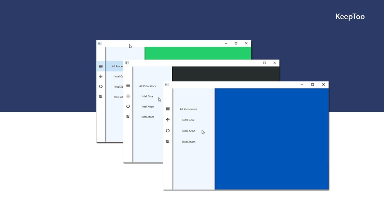 how to design a vertical side menu with tabs