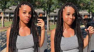 Watch Me Get Box Braids For The First Time | Azlia Williams