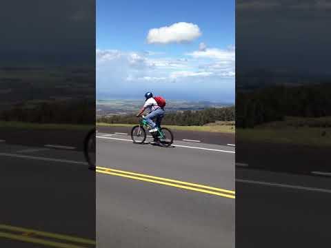 Brian biking down the volcano