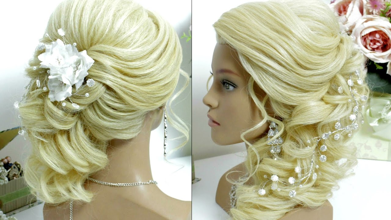 bridal prom hairstyle for long hair tutorial. side swept curls