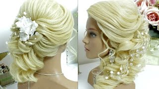Wedding prom hairstyle for long hair tutorial. Side swept curls