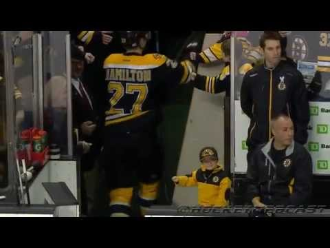 Liam Fitzgerald Fist Bumps Boston Bruins after their Pregame Warm Up