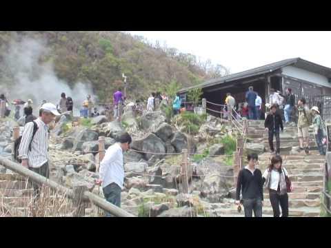 Hakone, Japan - Lake Ashi cable car, eating Owakudani volcanic black eggs