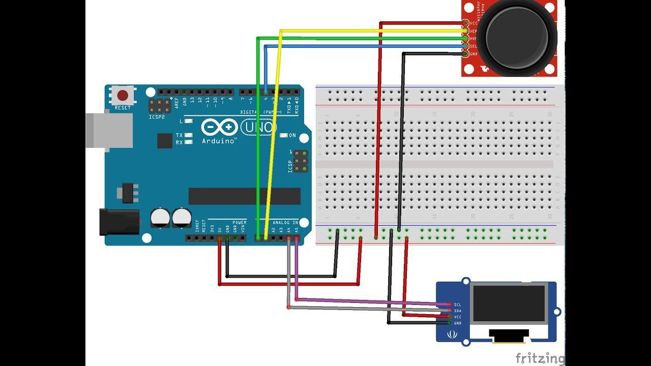 Arduino Joystick + OLED 128x64 LCD I2C Display Example