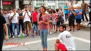 #Kajal Agarwal making fun on streets on foreign.