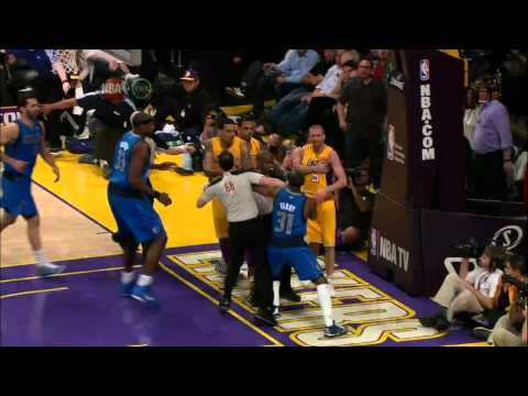 Jason Terry Throws Steve Blake Down and Matt Barnes Joins The Fight and Throws A Coach Down [HD]