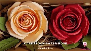 DIY cardstock paper rose full video tutorial - How to make scrap paper flowers
