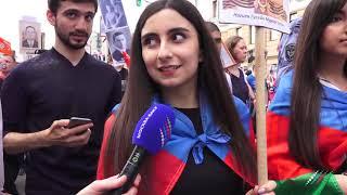 """Азербайджанцы прошли """"Бессмертным полком"""" в Москве"""