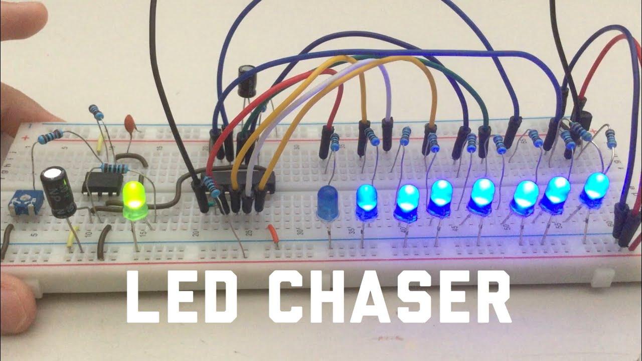Adjustable Led Chaser Circuit Using Shift Register Youtube Breadboard