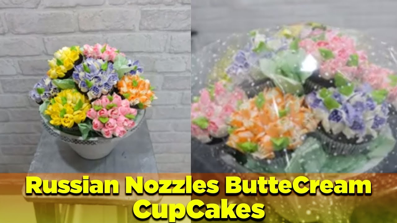 Russian nozzles butttercream cupcake bouquet- How to- DIY - YouTube