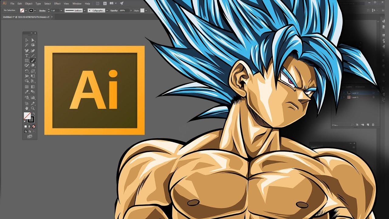 speed art goku super saiyan blue adobe illustrator cc youtube