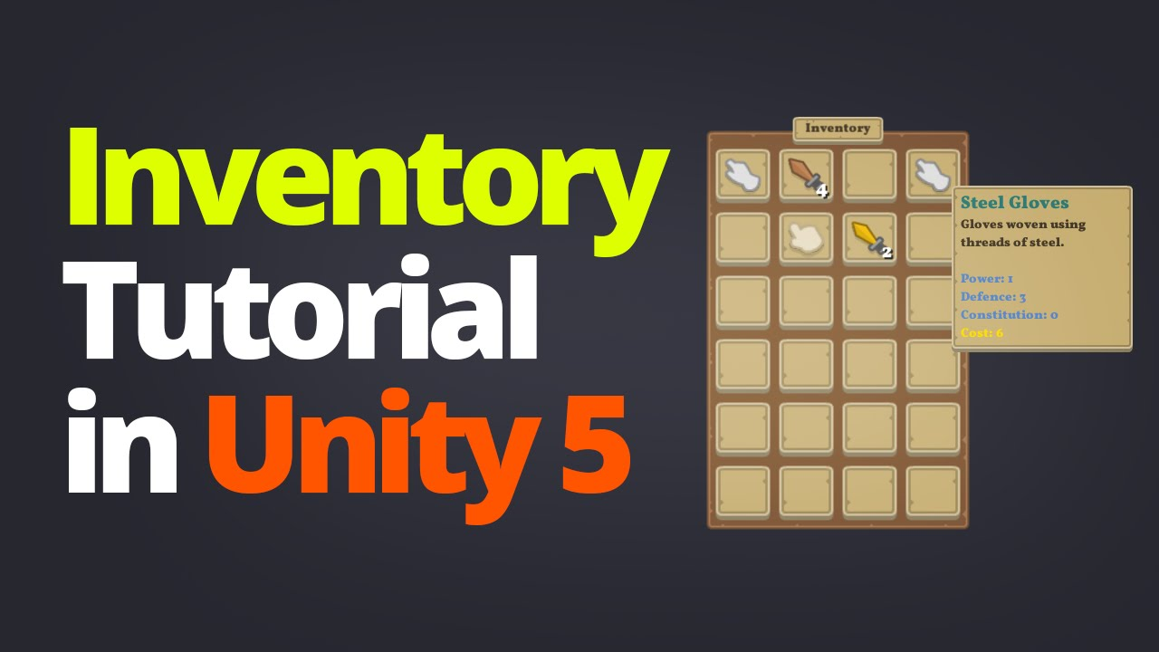 Inventory System Tutorial In Unity 5 Part 1 Youtube
