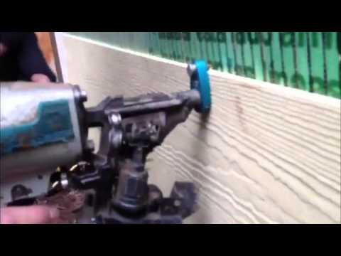 EZi-Gauge siding nail gun attachment - YouTube