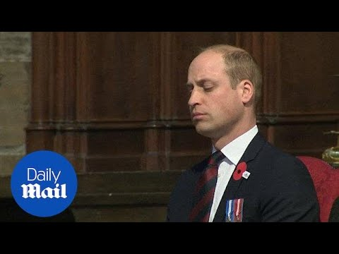 Prince William struggles to keep his eyes open during service - Daily Mail