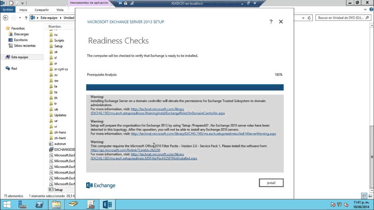 Instalar Exchange Server 2013 en Windows Server 2012 R2
