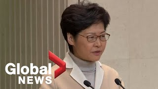 Hong Kong Chief Executive Carrie Lam speaks to media, comments on recent protests