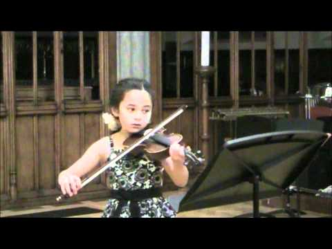 Violinist Minnie 7 years old, playing Frohlicher Landmann by Schumann