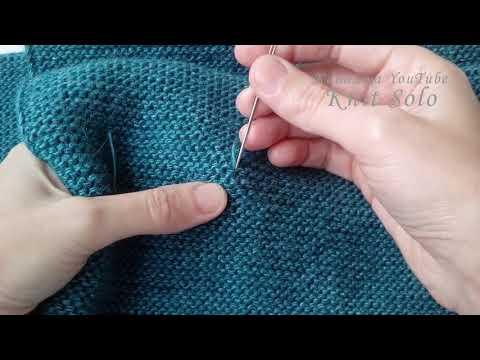 Как спрятать кончики нитей, полотно - платочное вязание. Knit Solo