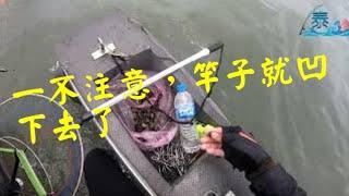往上游探,找尋螺釣點,竿竿縮