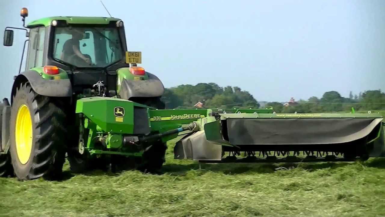 John Deere Side By Side >> JOHN DEERE 6930 & JOHN DEERE 331 side mount mower 15th July 2013 HD - YouTube