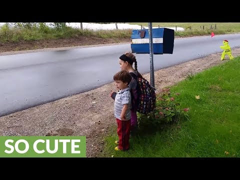 Big sister gives brother advice for 1st day of school