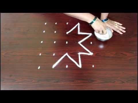 star muggulu designs with 5x5 dots--simple star kolam designs-rangoli star designs with dots