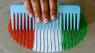 Easy Rangoli Design For Independence Day | Rangoli Design For August 15th | Independence Day Rangoli