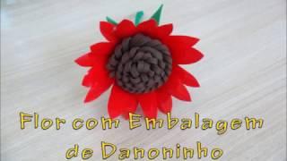 Flor com Embalagem de Danoninho – DIY