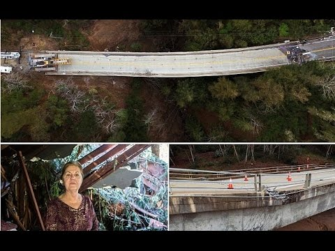 Downed bridge splits Big Sur IN HALF: Hundreds are left stranded by storm damage