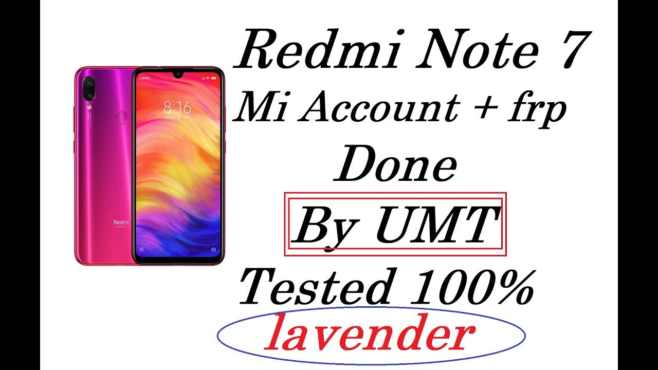 Redmi Note 7 [LAVENDER] Login Free   mi account frp done by umt qc fire  100% tested