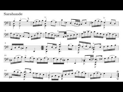 J S Bach Cello Suite No 1 Iv Sarabande Colin Carr Sheet Music