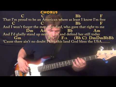 God Bless the USA - Bass Guitar Cover Lesson with Chords/Lyrics