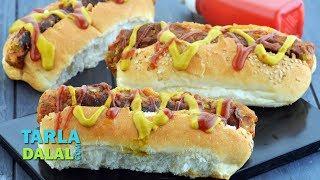 Vegetarian Hot Dog by Tarla Dalal