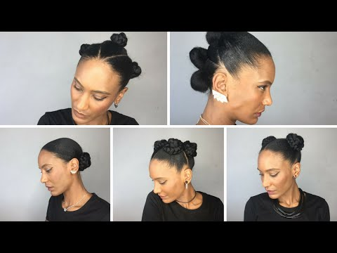 5 CUTE BUNS HAIRSTYLES (natural afro hair)