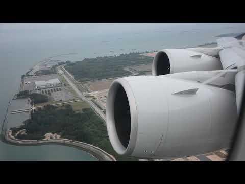 RARE ENGINE VIEW - SINGAPORE A380 - QUIET TAKEOFF