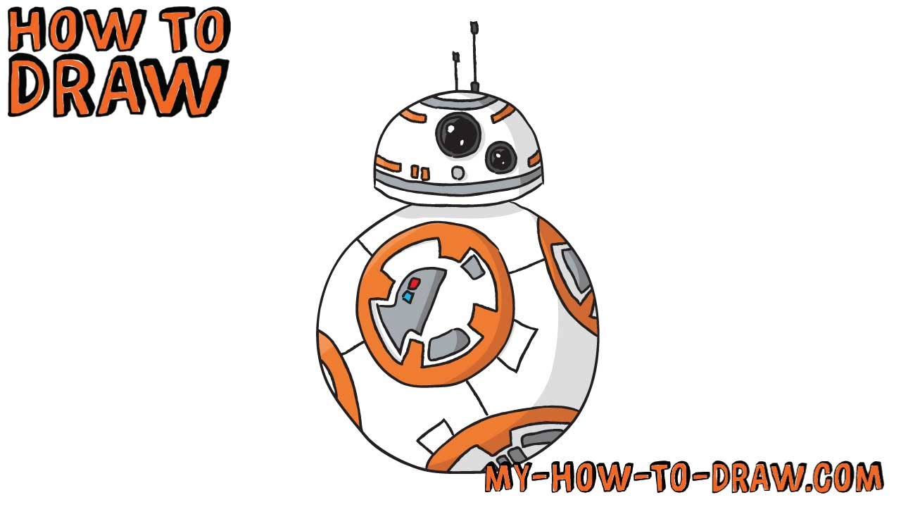 How to draw BB-8 - Star Wars - Easy step-by-step drawing tutorial ...