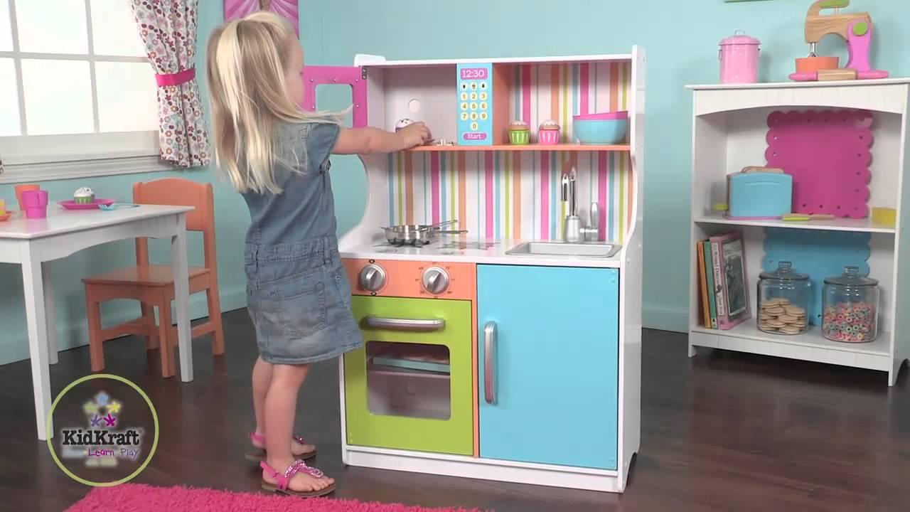 cuisine pour enfants color en bois kidkraft - youtube