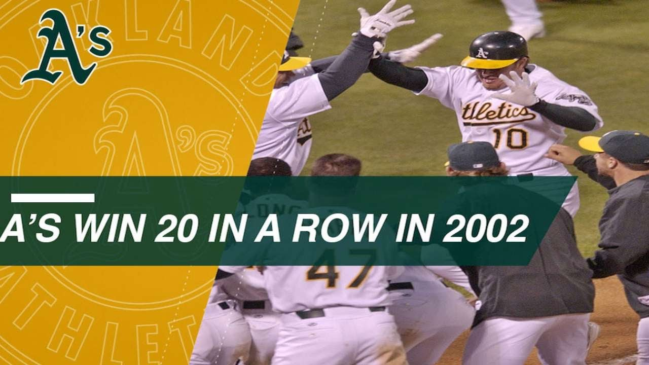 Relive the Oakland A's 20-game win streak in 2002