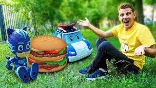 Видео про игрушки: Автобус Тайо, Робокар Поли и Кэтбой готовят пикник!