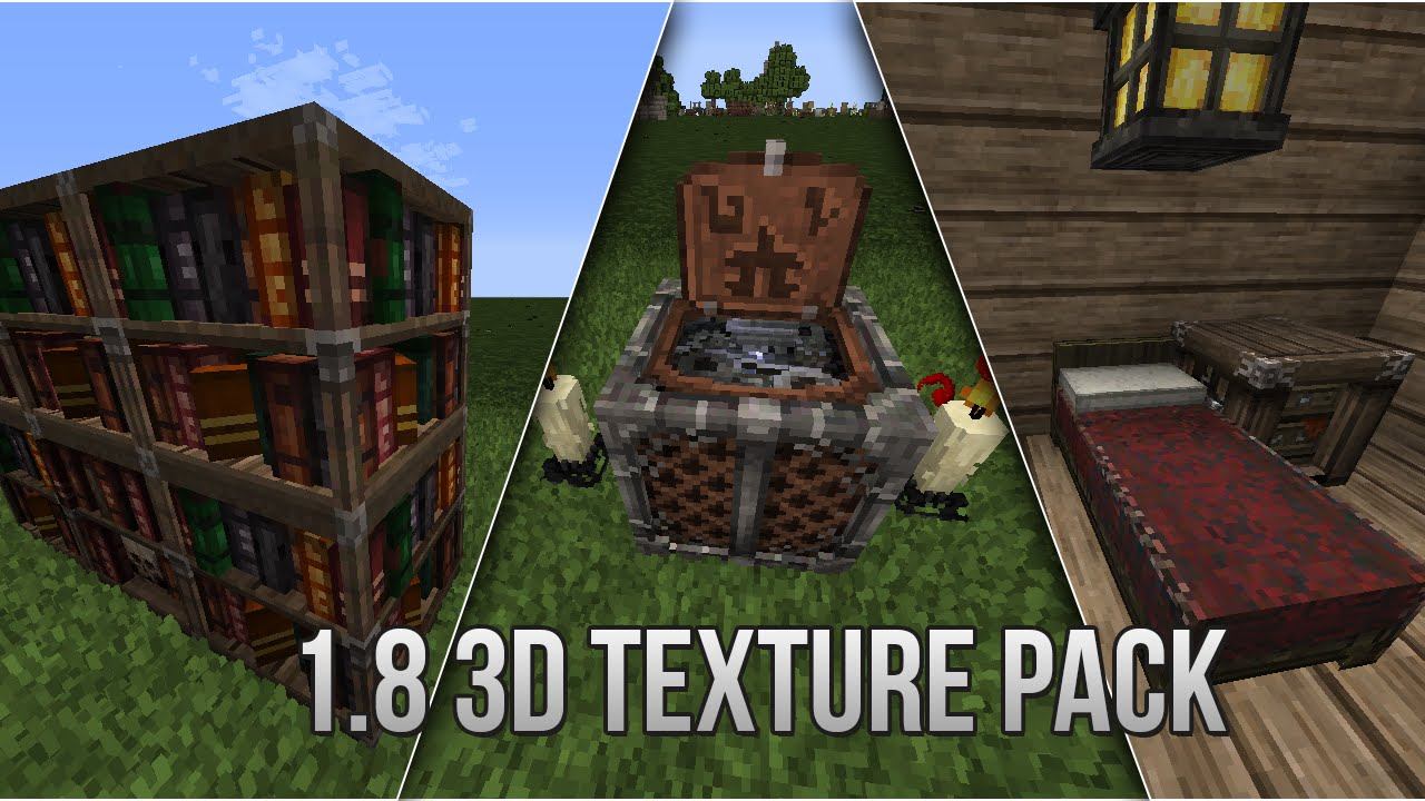 Minecraft 1 8 3d Resource Pack Quick Overview Youtube