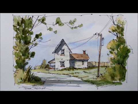 Pen and Wash Fall Farmhouse Watercolor Tutorial. Quick and  Fun beginner Lessons. Peter Sheeler