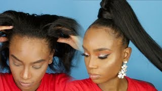 Easy High Ponytail with Weave! HAIRSTYLE THAT LASTS! ft Beauty Forever Hair