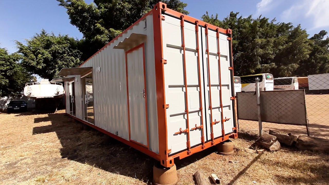 Projeto Comercial em Container 40HC com escritório - Azul Containers
