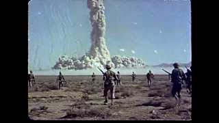 Color footage of atomic bomb tests in Nevada - Soldiers being exposed to high levels of radiation