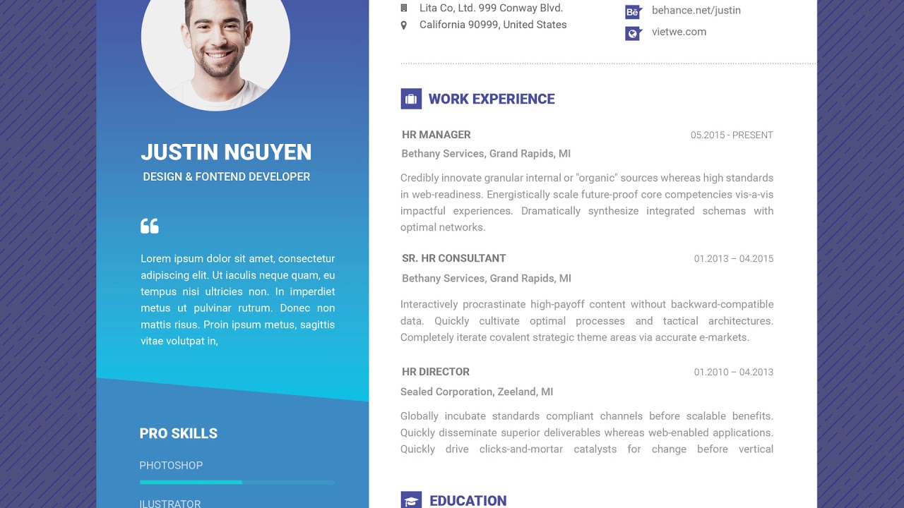 Great Free Professional Resume Template   Contemporary Blue