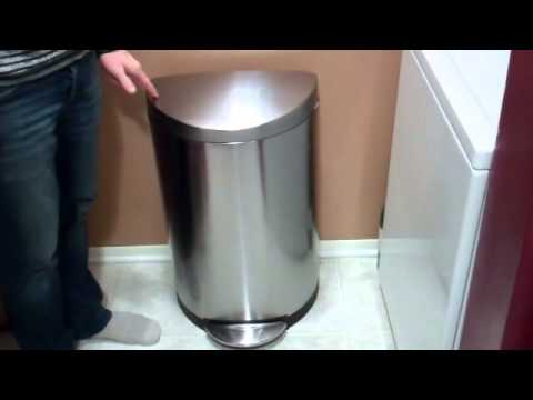 simple human semiround stainless steel trash can review