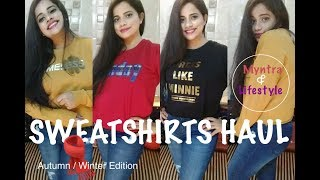 WINTER SWEATSHIRTS HAUL TRY-ON | MYNTRA & LIFESTYLE |TheLifeSheLoved| Sana K