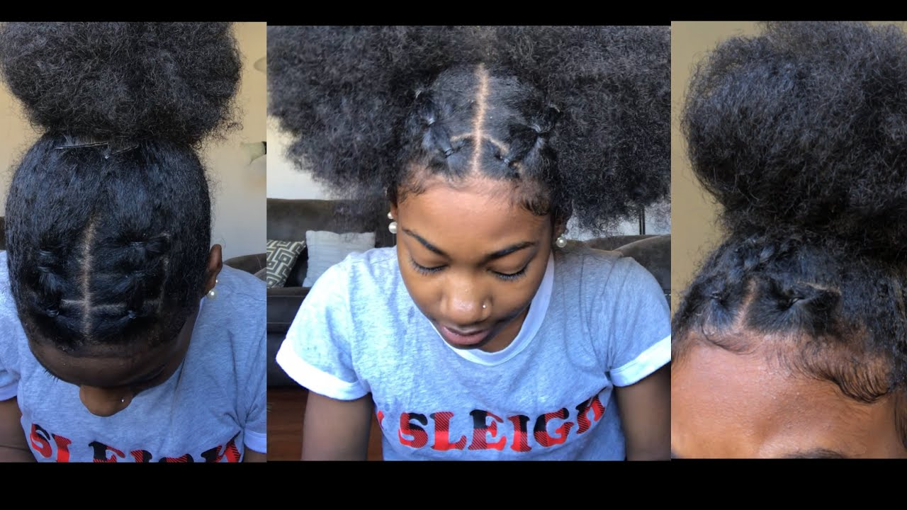 trendy rubberband hairstyles on natural hair